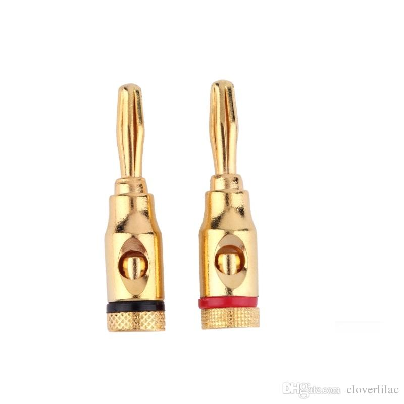 Good Quality and 100% Brand New 20pcs/lot Golden Plated Speaker Audio Plug 4MM Banana Connector