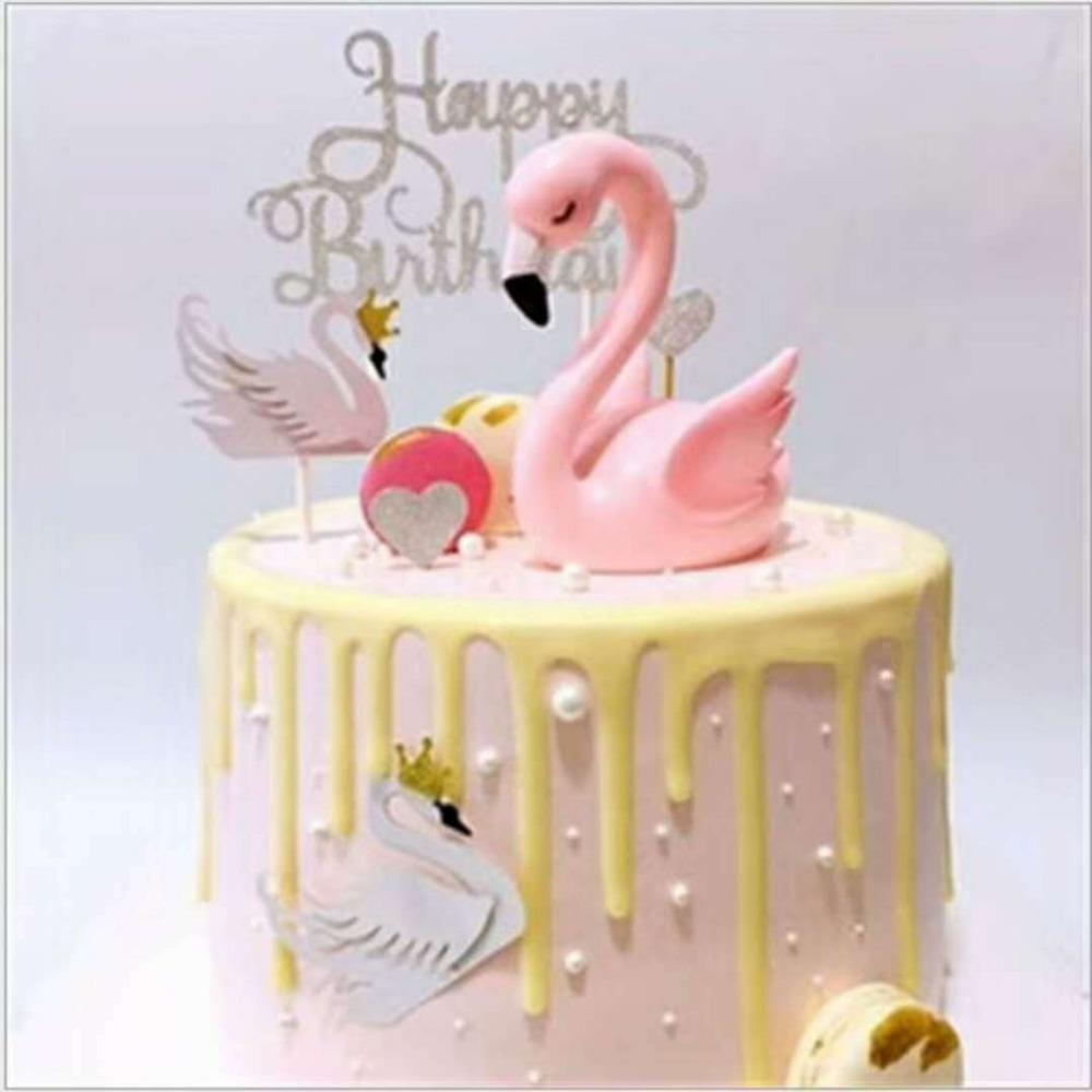 2019 Flamingo Birthday Cake Topper Decoration Pink Bird Home Decor