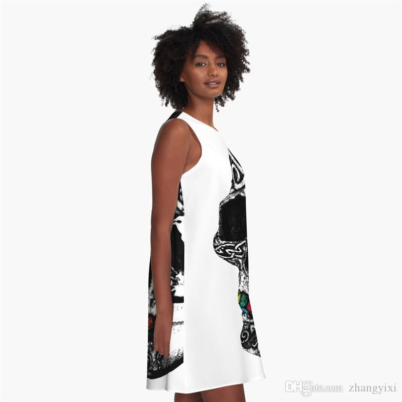 Frete Grátis por atacado Venda Quente de Verão Mulheres 3D Impresso Crânio Branco / Preto Bandeira O-pescoço Sem Mangas A-Line Sexy Vestido