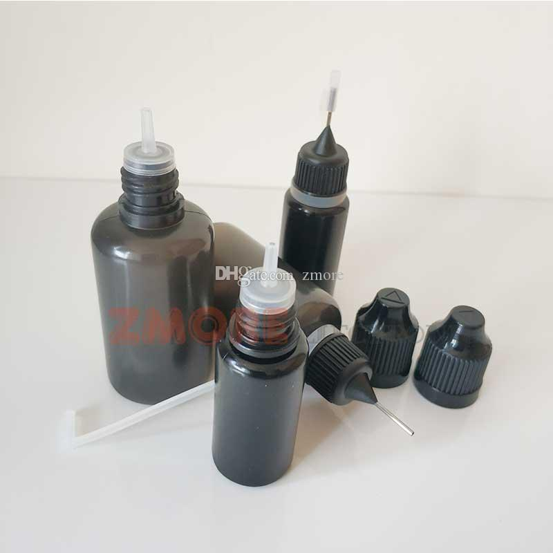 أسود PE زجاجة فارغة 10ML 30ML زجاجات القطارة البلاستيكية مع نصائح طويلة ورقيقة العبث والدليل على قبعات E السائل إبرة زجاجة