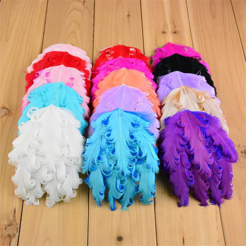 10 adet / grup 4 Inç Fascinator Nagorie Kıvırcık Tüy Pedleri Şapka Bezemeler DIY kızlar Saç Aksesuarları U Seçim Renk TH17