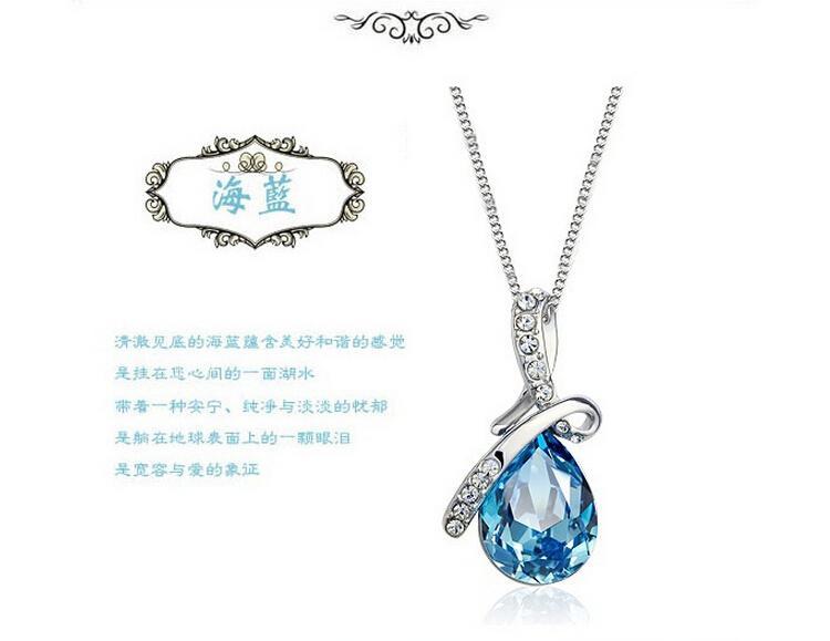 NK548 Venda Quente Banhado A Prata Jóias Azul Branco Zircão Colar de Pingente De Água De Cristal Para As Mulheres Acessórios de Casamento