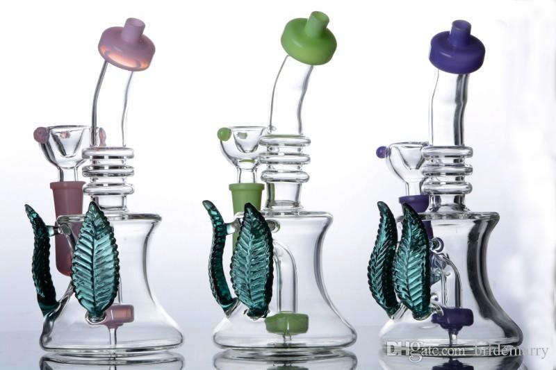 Colorful Beaker Bong Smoking Bongs Bent Neck Double Leaves Clear Bubbler Colored Cheap Recycle Smoking Pipe 14mm Joint Jet Perc Water Pipes
