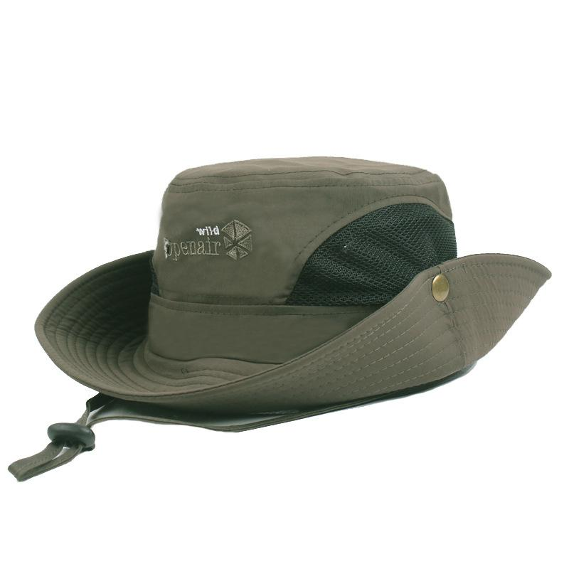 35a3b68bd Spring Summer Wide Brim Sun Anti -Uv Hats Men Women Mesh Fishing Angler  Hats Outdoor Travel Bucket Caps 6 Colors