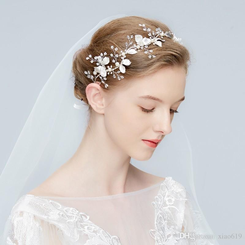 Silver Floral Headpiece Bridal Headband Tiara Wedding Pearls Hair Crown Jewelry Women Fashion Headpiece Accessories