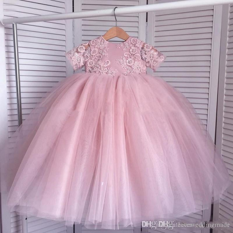 Applique Lace Tulle A Line Princess Flower Girl Dresses For Wedding Short Sleeves Girls Pageant Gowns Toddler Child Birthday Party 2018