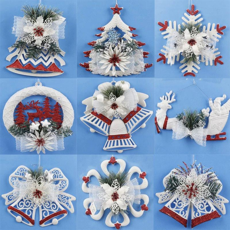 different 9 style white bells snowflakes decoration elk christmas ball decoration ornaments for christmas tree strap ornaments christmas ornament christmas - Different Christmas Decorations