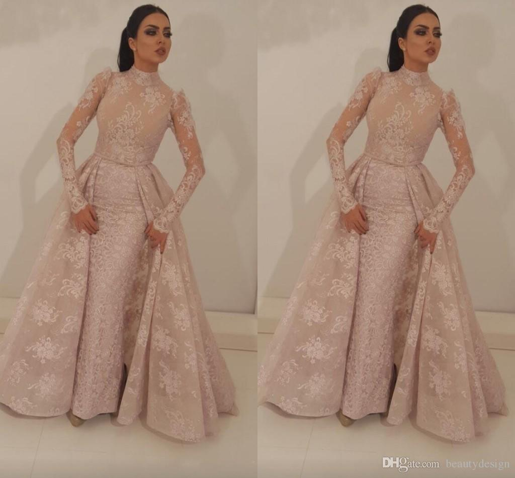 c7dd55e4ff 2018 Dubai Arabic Nude Pink Mermaid Prom Dresses With Detachable Train Long  Sleeves Evening Gowns Evening Dresses Abendkleider Formal Dress Plus Size  Prom ...