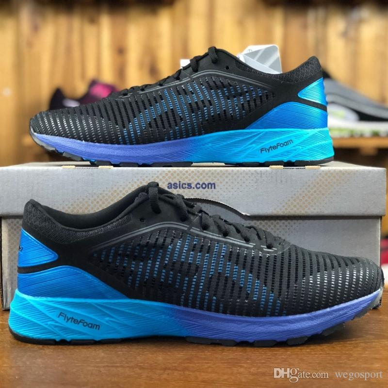 brand new f2a80 95a33 Wholesale Asics DynaFlyte 2 Racing buffer Running Shoes For Men Black Blue  Net surface Athletics Sports Sneakers Size 40-45