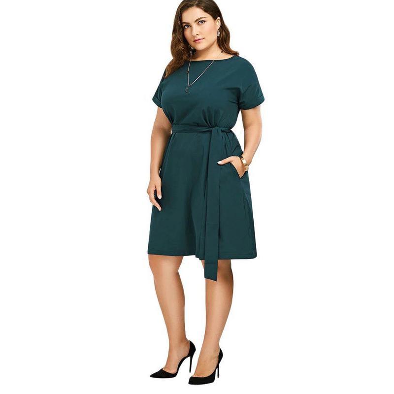 c3f74c3bf Además de verano de gran tamaño nuevo vestido elegante Mujeres 2018 de moda  de color puro de manga corta vestido de mujer tienen un cinturón de ...