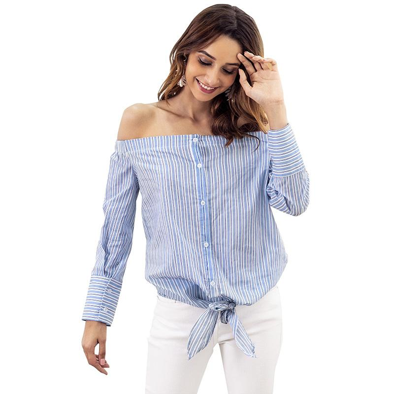 2b736171966676 2019 Fashion Women Striped Off The Shoulder Shirt Long Sleeves Button Down  Tie Blouse Casual Autumn Tops Blue Ladies Camisa Feminina From Feeling07