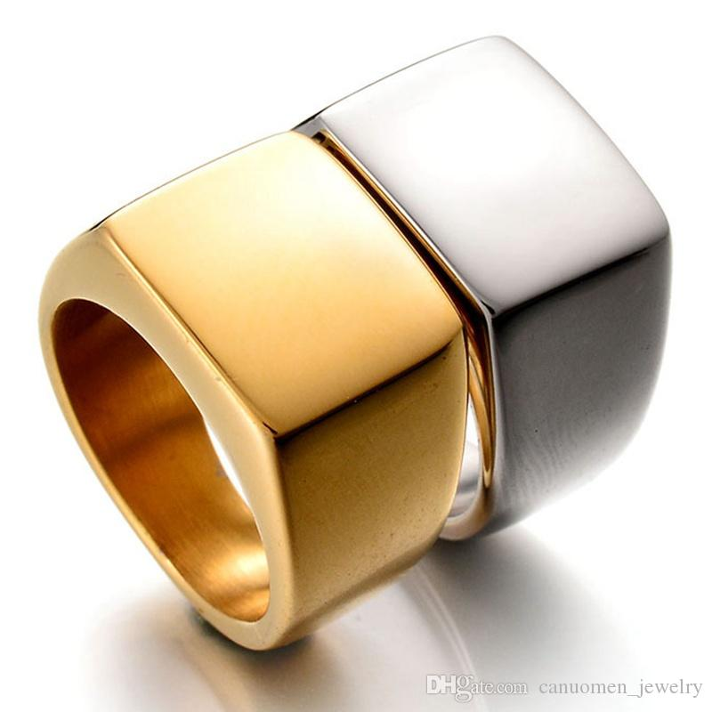 Stainless Steel Rings for Men Block Square Ring Silver Black Gold DIY Engrave Gifts Jewelry Wholesale