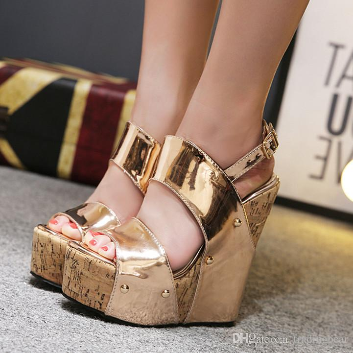 3aec25257366 16cm Luxury Gold Super High Heels Platform Wedges Sandals With Buckle Designer  Shoes Size 35 To 40 Fashion Shoes Shoes For Sale From Tradingbear