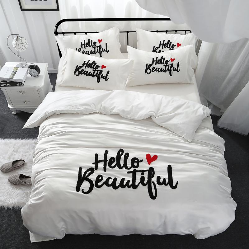 Girls Women Beautiful Bedding Set King Queen Size Bed Linen Cotton Imitate  Silk White Color Thick Linen Embroidered Bedclothes Shop For Bedding  Contemporary ... ff0fcec3ee