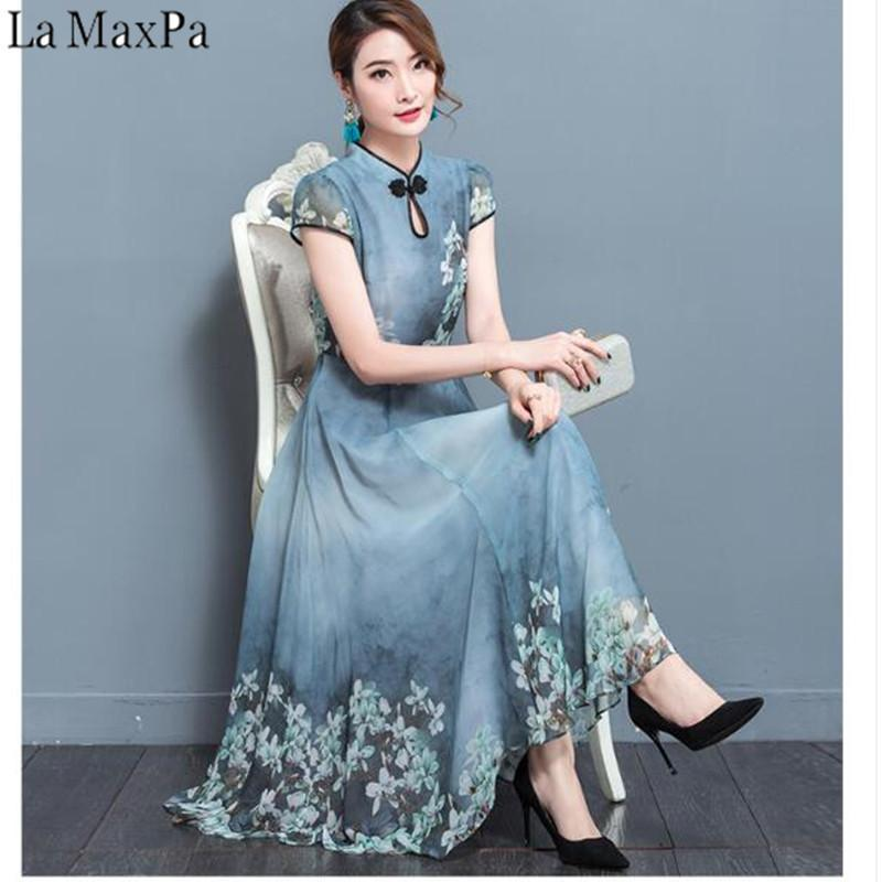 bccd89e7620f 2018 Summer Chiffon Dress Robe Noel Elegant Vintage Chiffon Party Dresses  Plus Size Female Retro Chinese Style Clothing D1891703 Gold Dresses Dress  Online ...