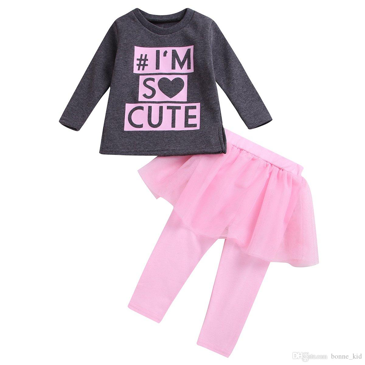 82b95a3a7d35 2019 Kids Baby Girls Tutu Dresses Outfits Long Sleeves Black T Shirt Tops  Pink Pants Dress Set Clothing Letter Print I'M So Cute 1 6Y From Bonne_kid,  ...