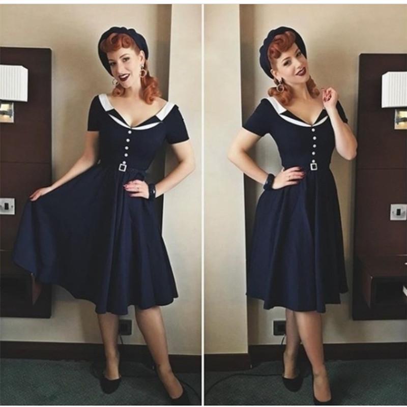 2018 30 Women Vintage 50s Classy Audrey Hepburn Navy Swing Dress