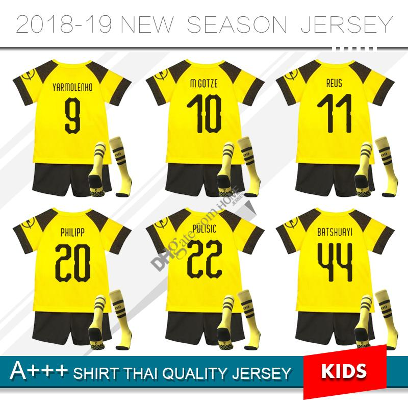 Compre 2019   11 REUS Kit Para Niños Jersey De Fútbol 18 19 AUBAMEYANG  Inicio Camiseta De Fútbol Amarillo Personalizado   22 PULISICO   10 M.GOTZE  Uniforme ... 0282d9e299a3f