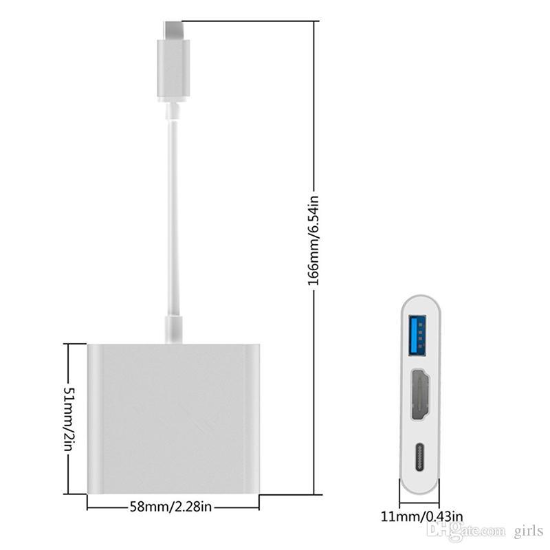 USB3.1 Type-C до 4K HDMI USB-C цифровой AV многопортовый адаптер 4K OTG USB 3.0 HUB зарядное устройство для Macbook 12