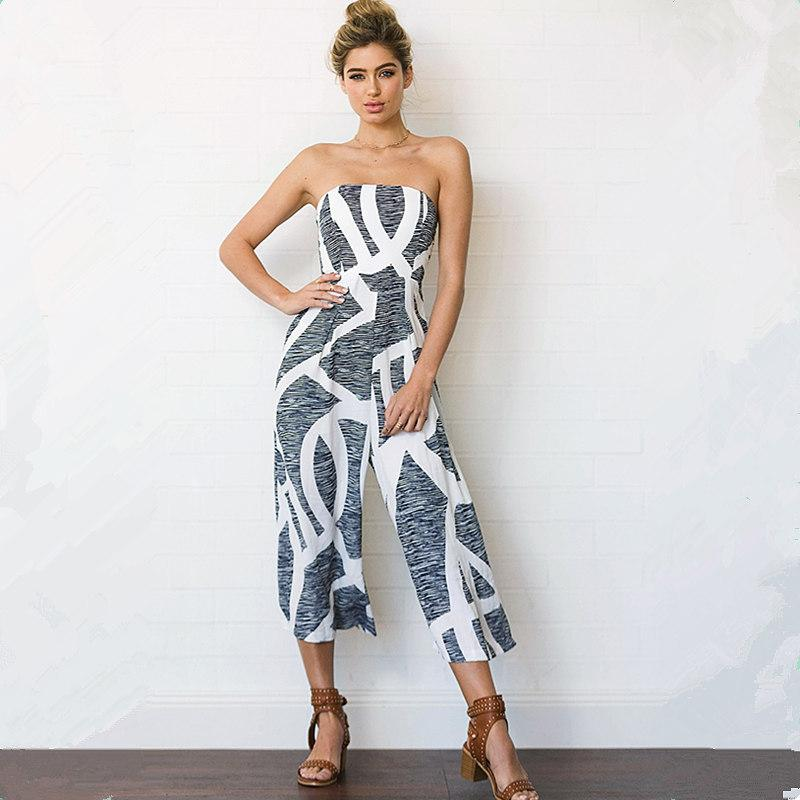 ee3b9a5c41c 2019 2018 Fashion Summer Women Print Wide Leg Jumpsuit Sexy Sleeveless  Strapless Bodysuit Casual Chiffon Female Long Trousers Rompers From  Luzhenbao521
