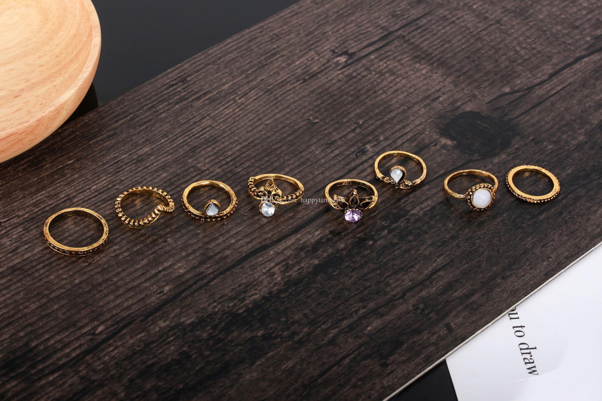 8 pz / set Vintage Midi Anelli Corona Bianco gemma Bronzo ottone Knuckle Anello Etnico Intagliato Boho Midi Anelli di Barretta le donne Gioielli di moda