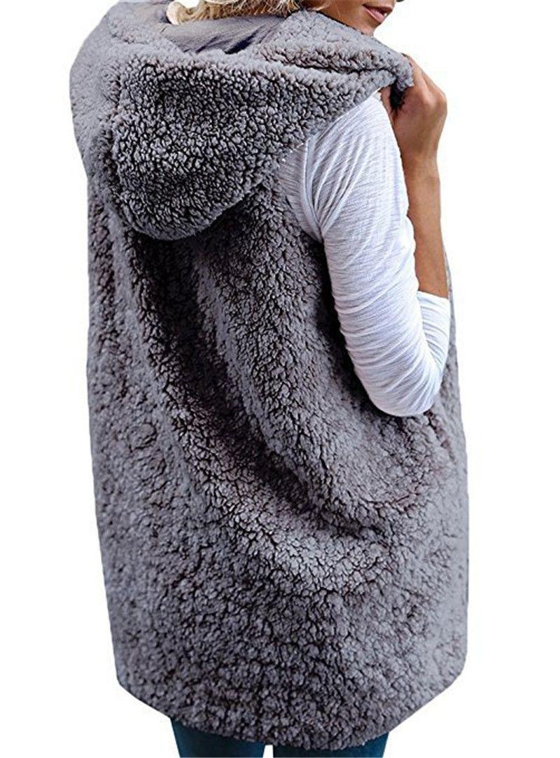 Sherpa Women Vest Sleeveless Berber Fleece WaistCoat Solid Color Casual Warm-up Hooded Cardigan Spring Autumn Winter Warm-up Cloak Coats