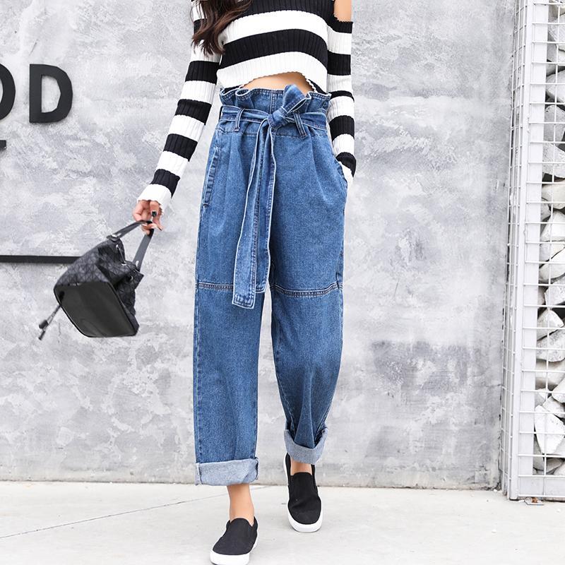 2ff545e2f248 Acquista Pantaloni Da Uomo In Pelle Con Cintura Di Carta 2018 Pantaloni  Larghi In Denim Casual Jeans Blu Fondo Sciolto Pantaloni Lunghi A Vita Alta  Di Alta ...
