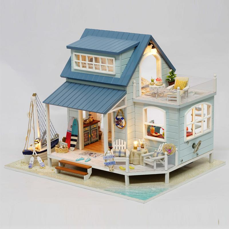 Miniature dollhouse furniture for sale Room Wooden Doll House Diy Miniature Dollhouse Furniture Handmade Toys Beach House For Dolls Educational Toys For Children Gifts 18 Doll House For Sale Wood Pinterest Wooden Doll House Diy Miniature Dollhouse Furniture Handmade Toys