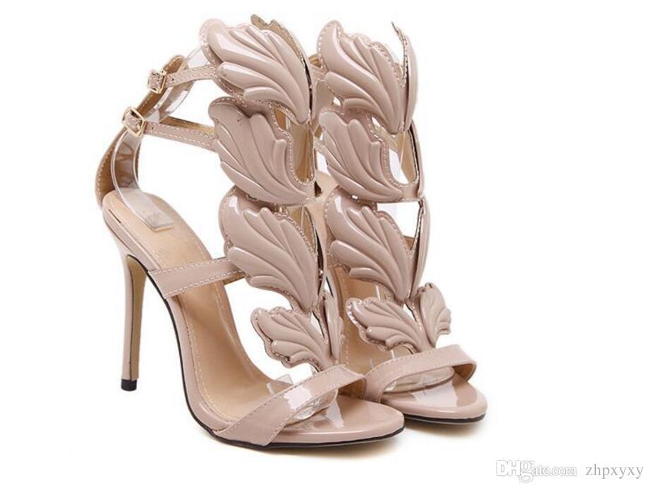 Flamme Metall Blatt Flügel High Heel Sandaletten Gold Nude Black Party Events Schuhe Größe 35 bis 40