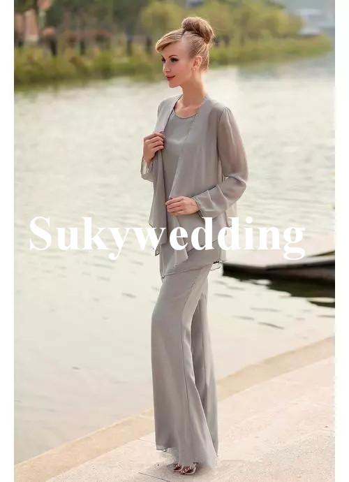 Elegant Gray Chiffon Mother of the Bride Groom Suits with Jackets Plus Size Scoop Neck Wedding Guest Dresses Long Sleeve Prom Dresses