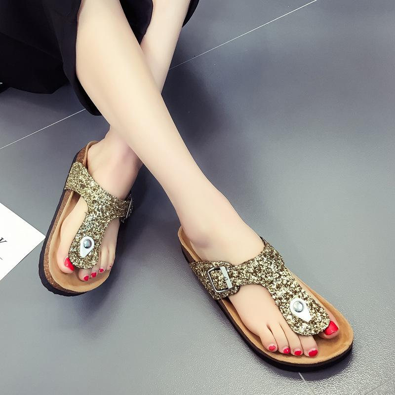 d1c6a421b 2019 Summer Lady Cork Flip Flops Sequins Beach Sandles Women Sole Slippers  Sexy Flat Flip Flops Outdoor Slipper Sandals Vogue Cool Shoes Slipper From  ...