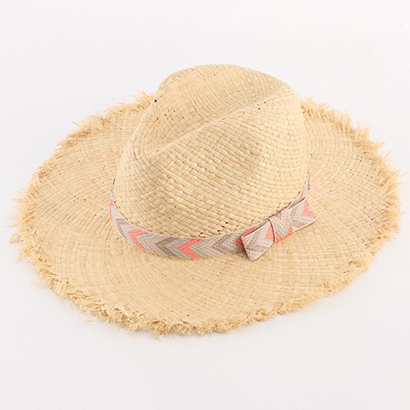 02e67daf8ce300 2017 New Big Raffia Straw Hat Striped Bowknot Wide Fringe Brim Beach Hat  Fashion Ladies Sun Caps Summer Hats For Women Bowler Hat Panama Hat From  Vintage66, ...