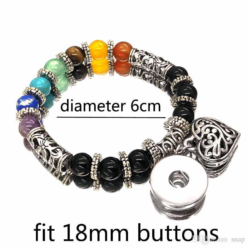 Vendita calda colorato 180 naturale pietra turchese 18 millimetri con bottone a pressione charms bracciali braccialetto le donne occhi di tigre aghi in rilievo yoga