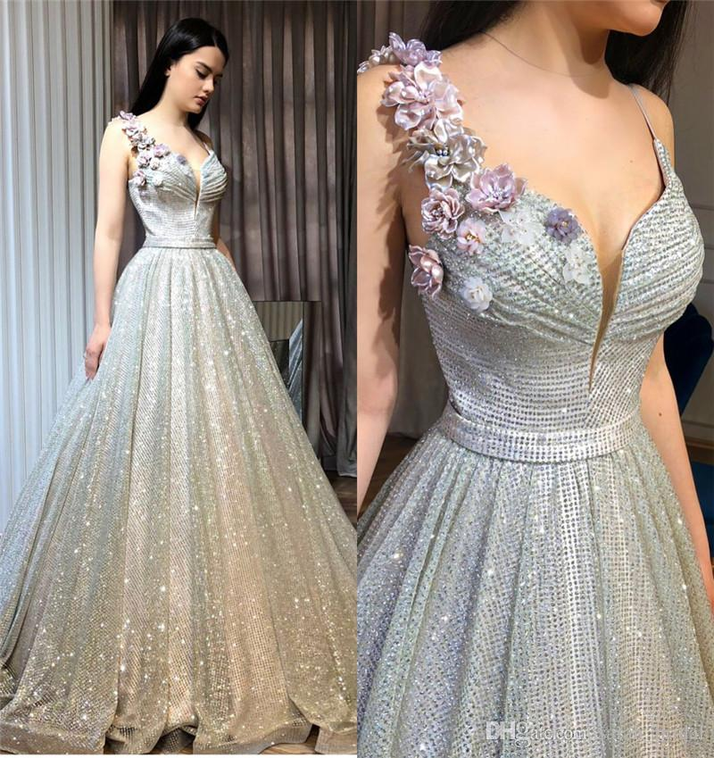 2018 New 3D Floral Cheap Prom Dresses A Line Plus Size Sequined ...