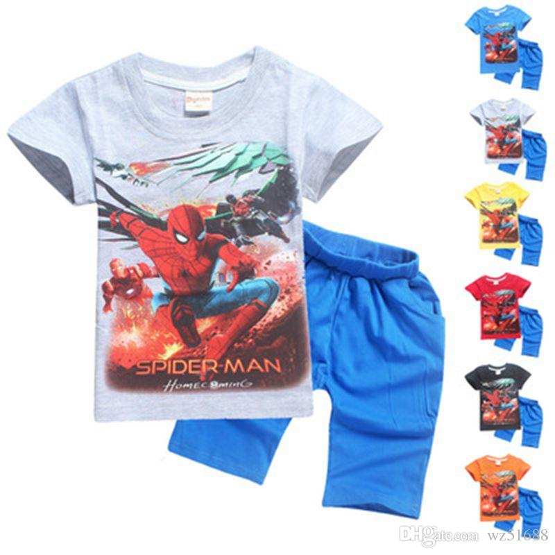 2db9ca5d1af 2019 Boys Clothing Set Summer Cotton Spider Man Kids Clothing Sets Suit For Boys  T Shirt + Pants Children Clothing Set From Wz51688