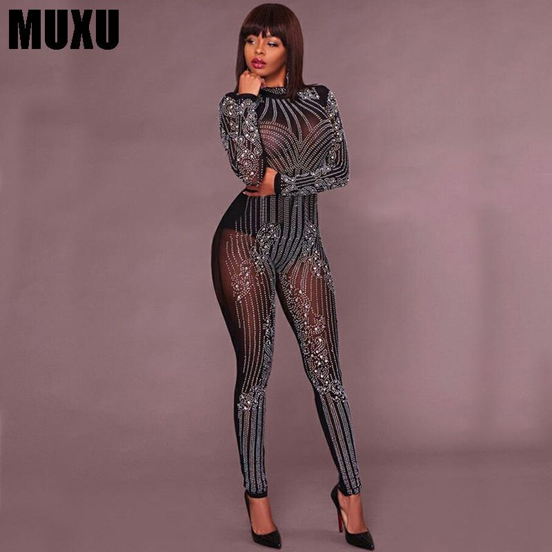 dbf02d47921 2019 MUXU Sexy Black Bodysuit Women Jumpsuit Europe And The United States  Jumpsuits Rompers Transparent Long Sleeve Body Bodysuits From Hongyeli