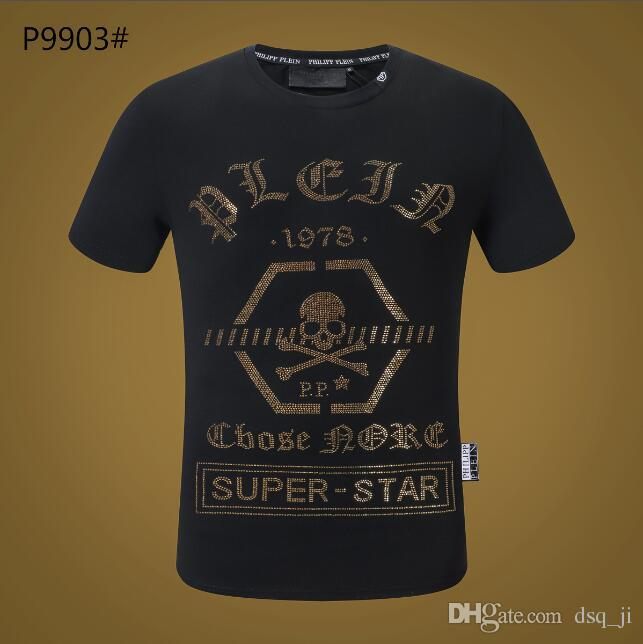 80f623d4149e New Men T-shirt Short Sleeves Cotton Skulls Prints Tshirt Round Neck ...