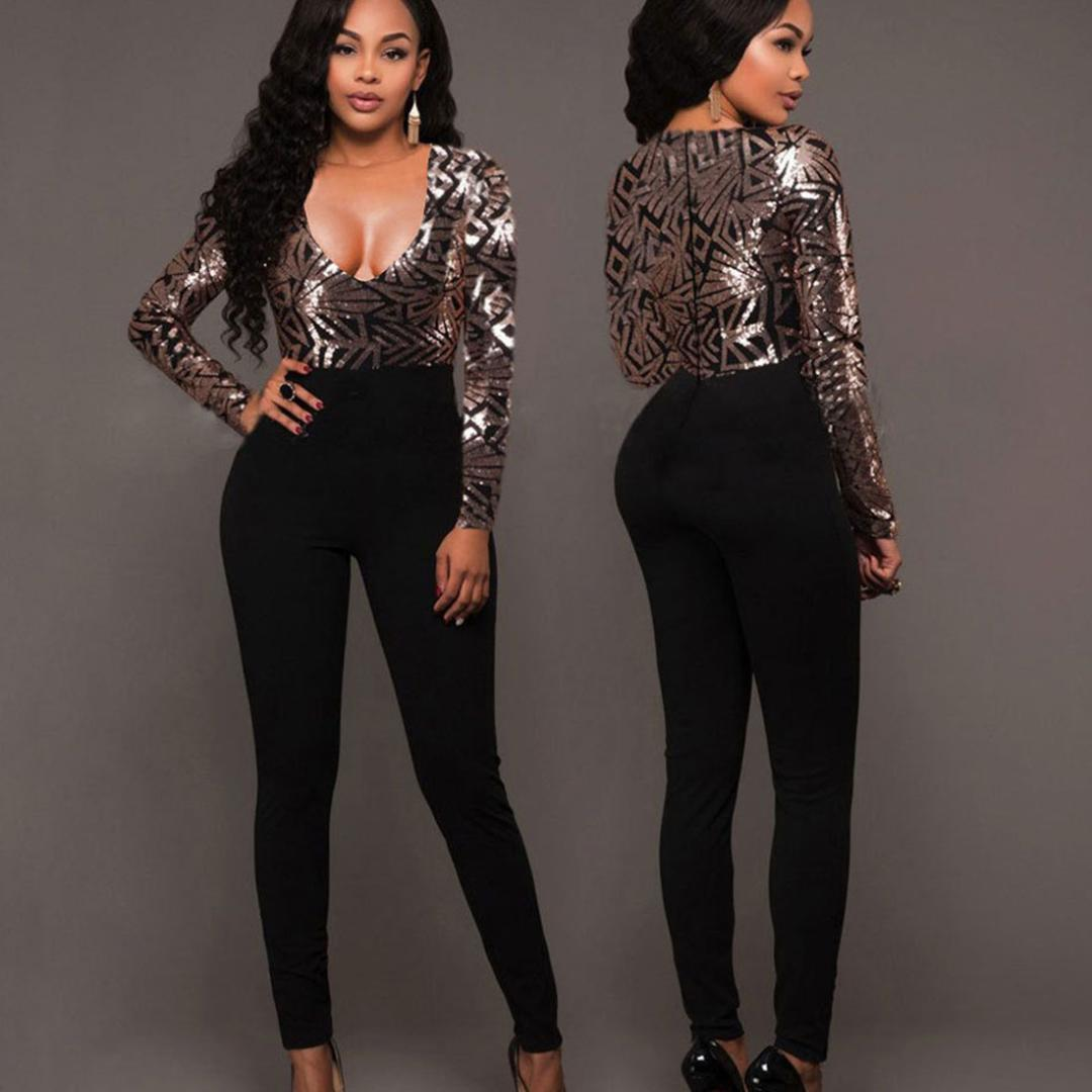 e50b7329f660 2019 Sexy V Neck Jumpsuit Women Long Sleeve Sequin Rompers Jumpsuits Autumn  Winter Bodycon Patchwork Slim Trousers Overalls Female From Redbud06