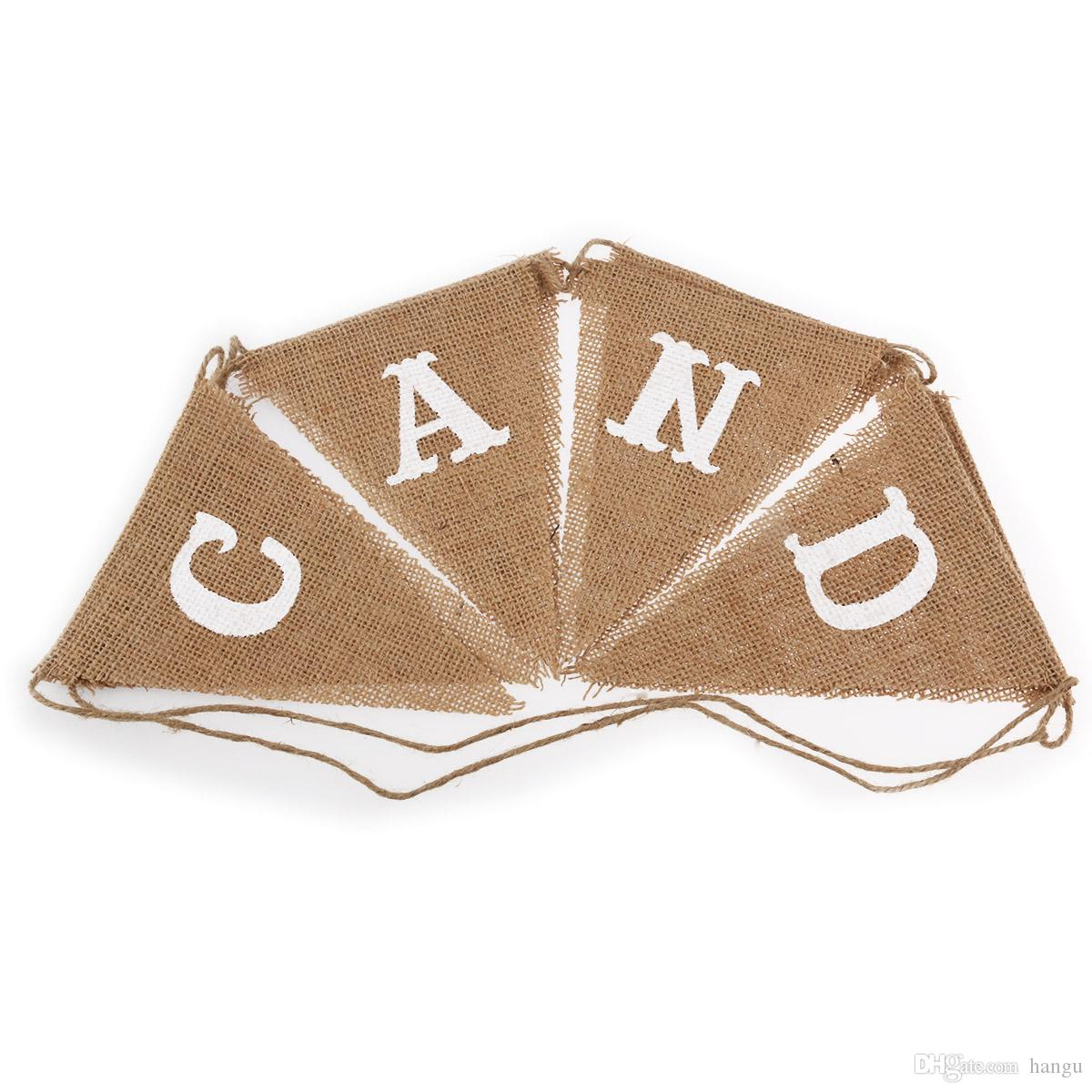 CANDY BAR Burlap Flag Banner Wedding Party Decoration Bunting Brown ...