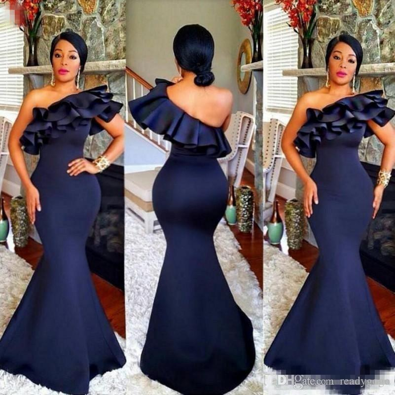 African Navy Blue Long Prom Dresses One Shoulder Ruffles Satin Mermaid Evening Gowns For African Women Formal Wear Party Dress Vestidos