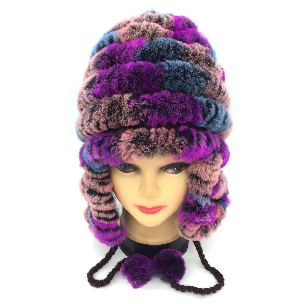 7e795c3e9aa Autumn Winter Women Real Rex Rabbit Fur Ear Hat Fashion Girl Natural Fur Headgear  Headdress Female Warmer Skullies Wholesale Straw Hat Baseball Cap From ...