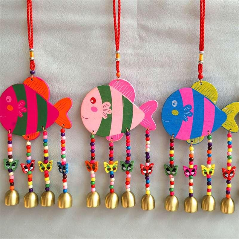 Craftwork Pendant Painted Bubble Fish Beads Four Bell Ornaments ...