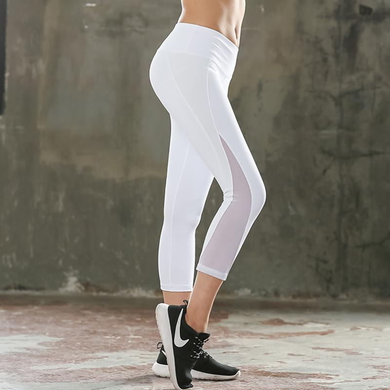 f53101aa4f9959 2019 Women White Capri Legging High Quality Quick Dry Elastic Pencil Pants  Woman Push Up Mesh Legging Summer From Honhui, $21.85   DHgate.Com