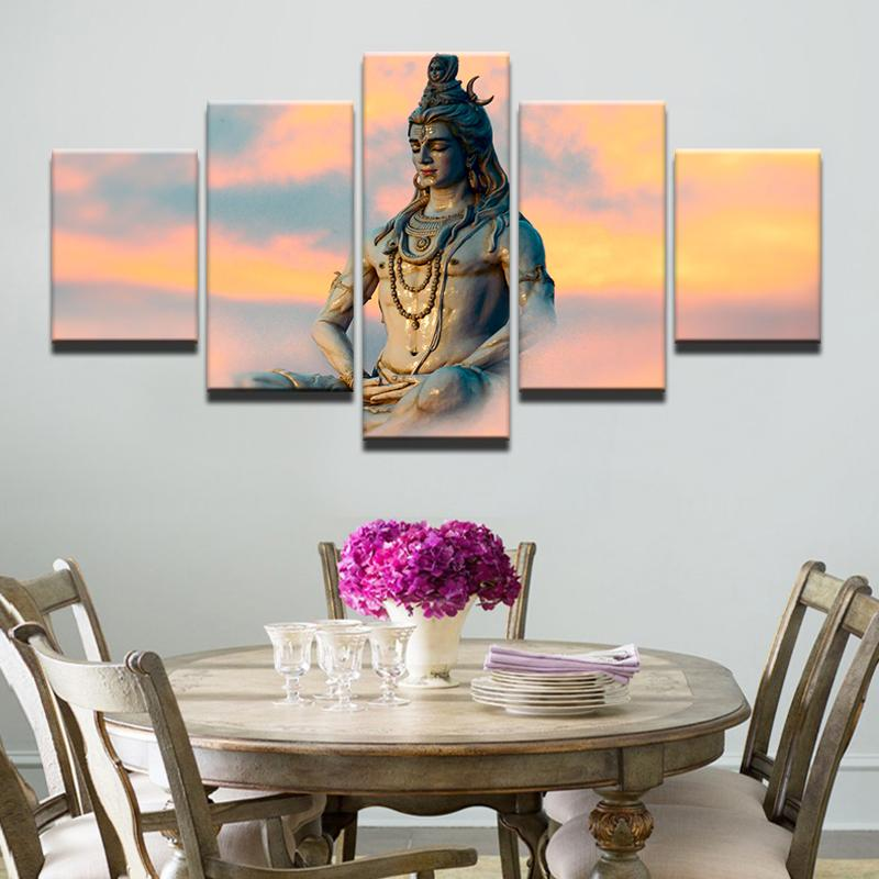 Poster HD Wall 5 Pieces Great India Deities God Siva Canvas Painting Fashion Modular Art Prints Pictures Background Home Decor