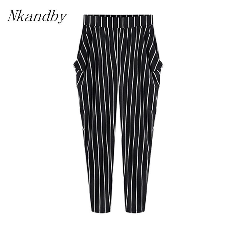 a4240a1ebd2 2019 Nkandby 5XL 4XL 3XL Plus Size Lady Trousers Spring Women Fashion  Casual Loose Striped Big Elastic Waist Harem Full Length Pants From  Lichee666