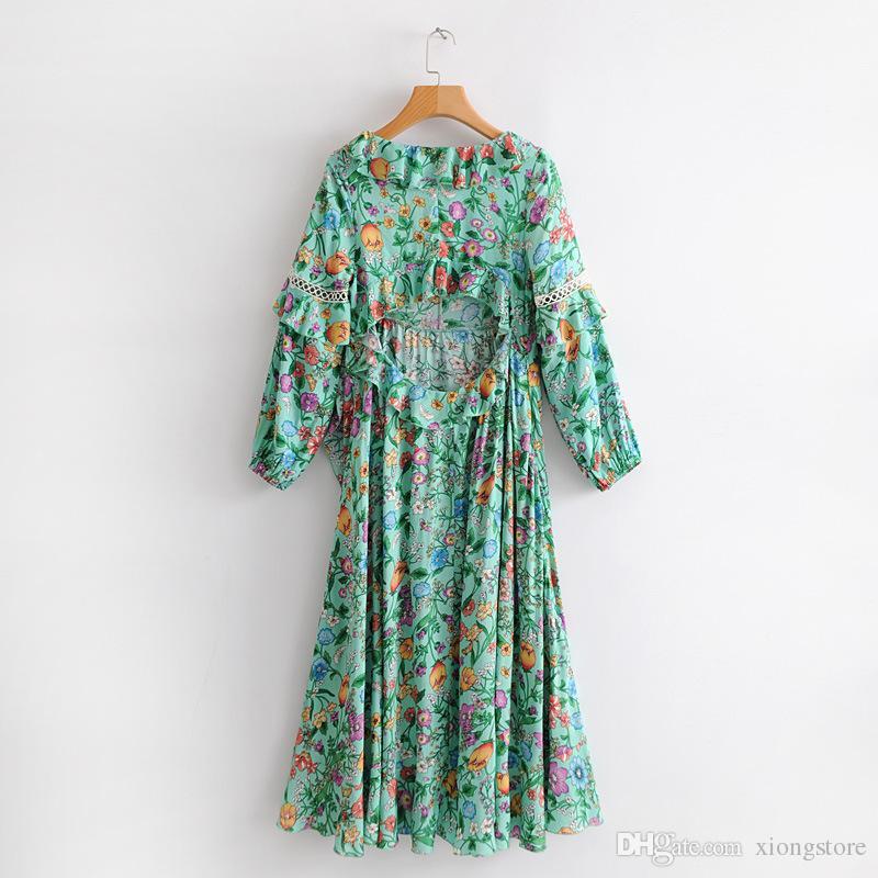 Yeşil 2019 Kadın Elbiseler Yeşil Çiçek Uzun Kollu Baskı Ruffles Bohemian Plaj Elbise Mujer Maxi Hippi Vestidos V Boyun Halk Se ...