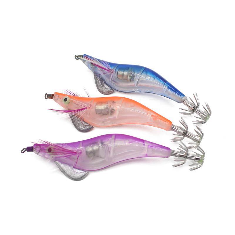 Nueva llegada de 10 cm 12,5 g luminoso LED electrónico Plantilla de calamar Noche artificial de pesca de madera camarón Señuelo del calamar luz Jigs Lure