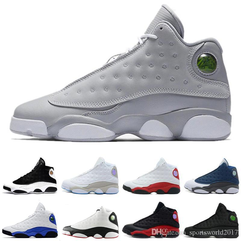low priced 70ef0 81086 Großhandel Retro Air Jordan 13 AJ13 Nike Zapatos 13 XIII 13s Mann Basketball  Schuhe Turnschuh 13s Phantom Gezüchtet Schwarz Braun Weiß Hologramm  Feuerstein ...
