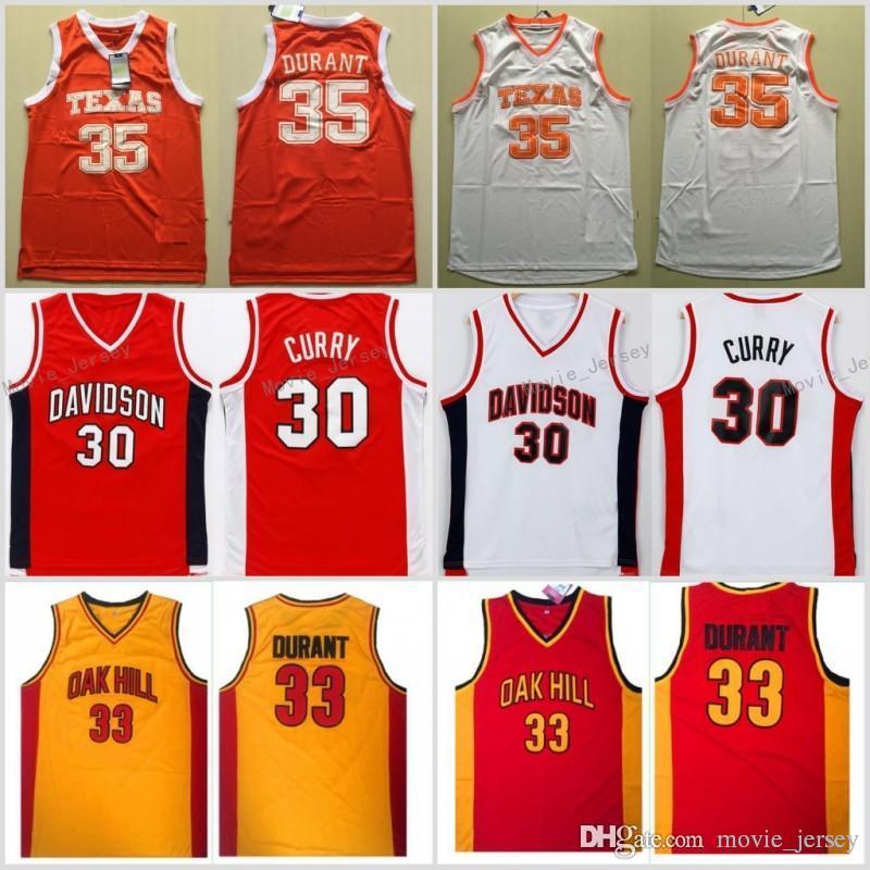 the best attitude 93975 3b461 Mens Davidson Wildcat 30 Stephen Curry Jersey Texas Longhorns 35 Kevin  Durant Jersey College Basketball Jersey Oak Hill High School Shirts