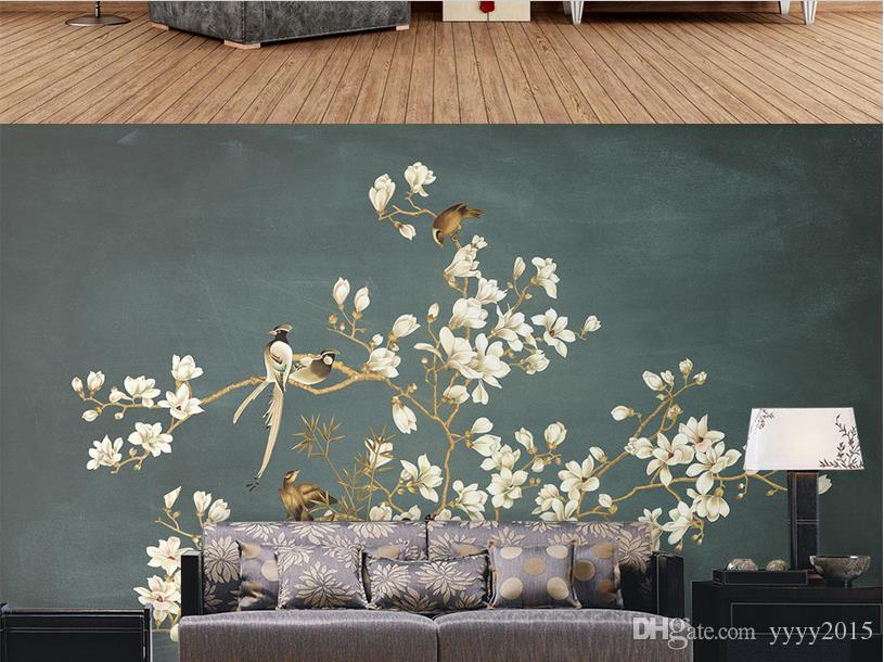 fondo de pantalla negro chino pintado a mano patrón flores y pájaros pared decorativa paintingwallpaper pared de ladrillo 3d